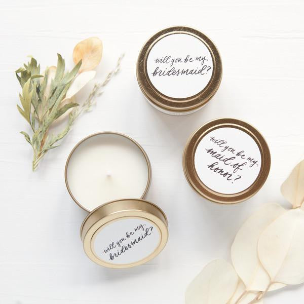 bridesmaid proposals, bridesmaid candle proposal idea, bridesmaid gifts, travel candles