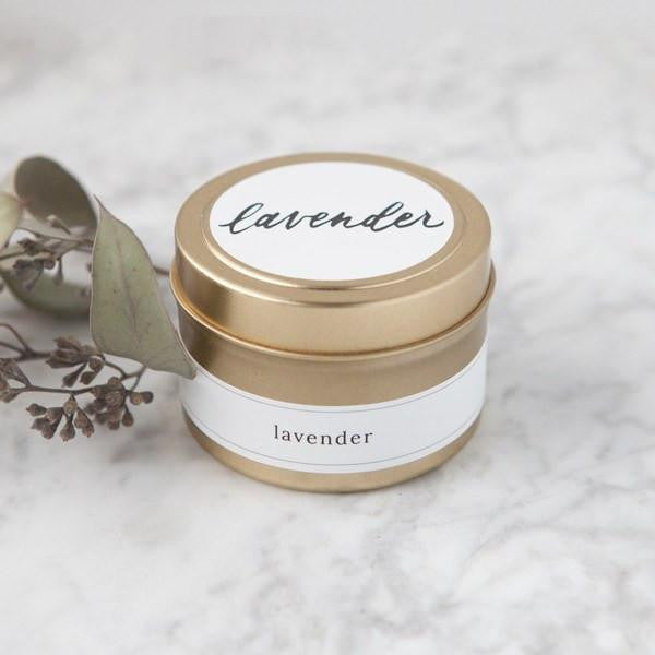 lavender travel candles, natural hand poured soy candles, mini candle tins