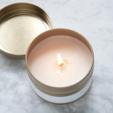 natural soy candles, hand poured small batch candles, travel candles, gold mini candles