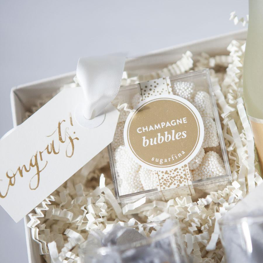 Best Wine For Wedding Gift: Custom Engagement Gifts With Champagne & Fresh Flowers