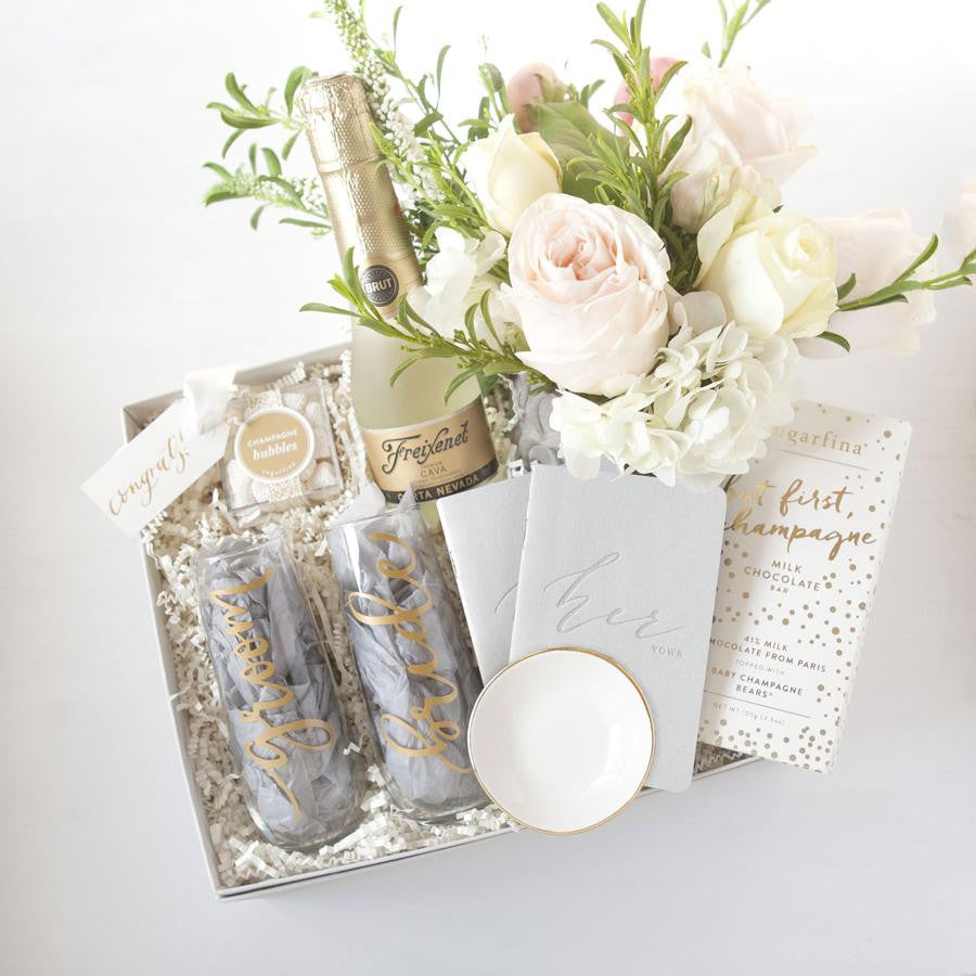 Custom Engagement Gifts With Champagne Fresh Flowers Foxblossom Co