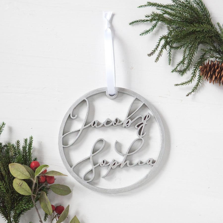 personalized ornaments, name ornaments, engraved christmas ornaments, unique tree ornament, couples holiday gifts, best couples gifts, engagement gifts, personalized gifts, gifts for them, gifts for her