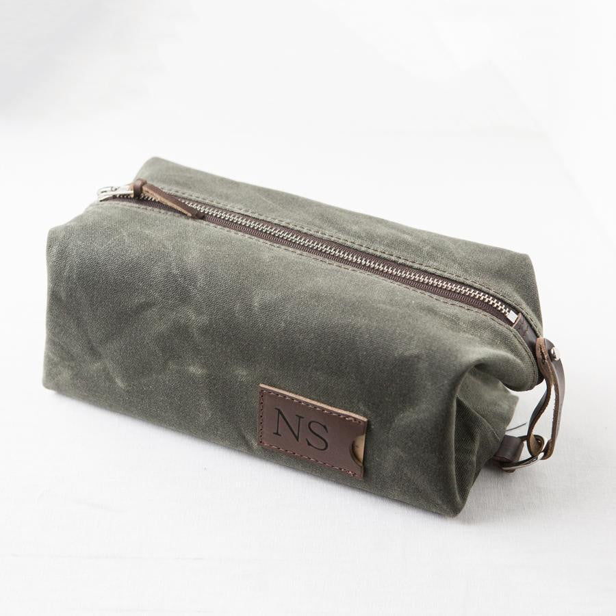 Men s Waxed Canvas and Leather Dopp Kit - Foxblossom Co. 7020f0b875e39