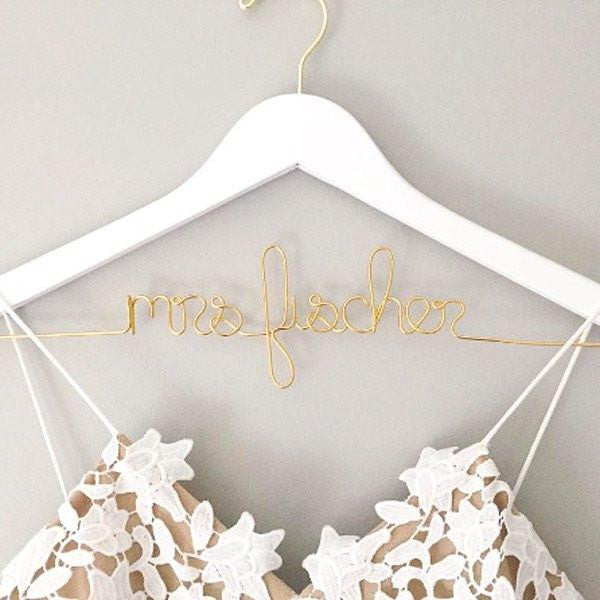 bridal hanger, gold wedding dress hanger, bridal shower gifts, engagement gifts, personalized gifts for brides
