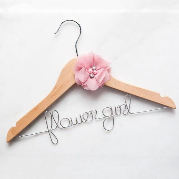 custom flower girl dress hanger, flower girl gifts, personalized bridesmaid hangers, bridal party gifts