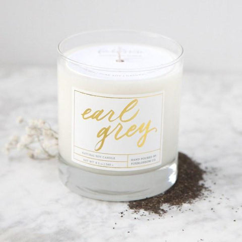 earl grey candle, hand poured candles, natural soy candle, minimalist candle packaging