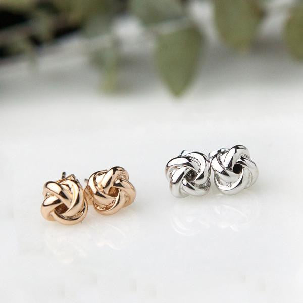 white gold rose gold knot earring options