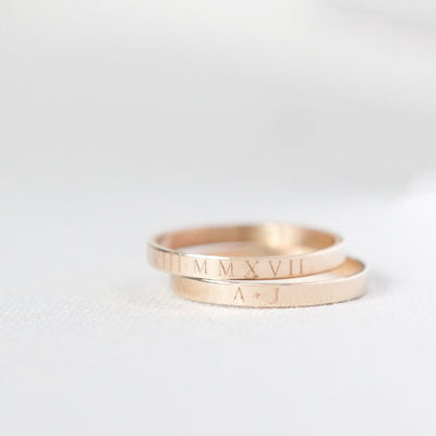 Personalized ring, personalized stacking ring, roman numeral ring, engagement gifts, bridal gifts, initial ring, gold rings, stacking rings, minimal jewelry