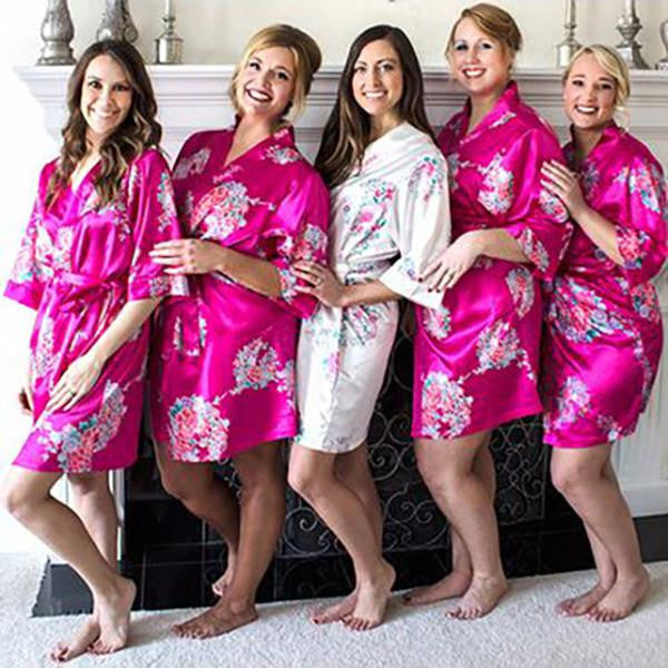 floral satin wedding robes bridesmaid gifts