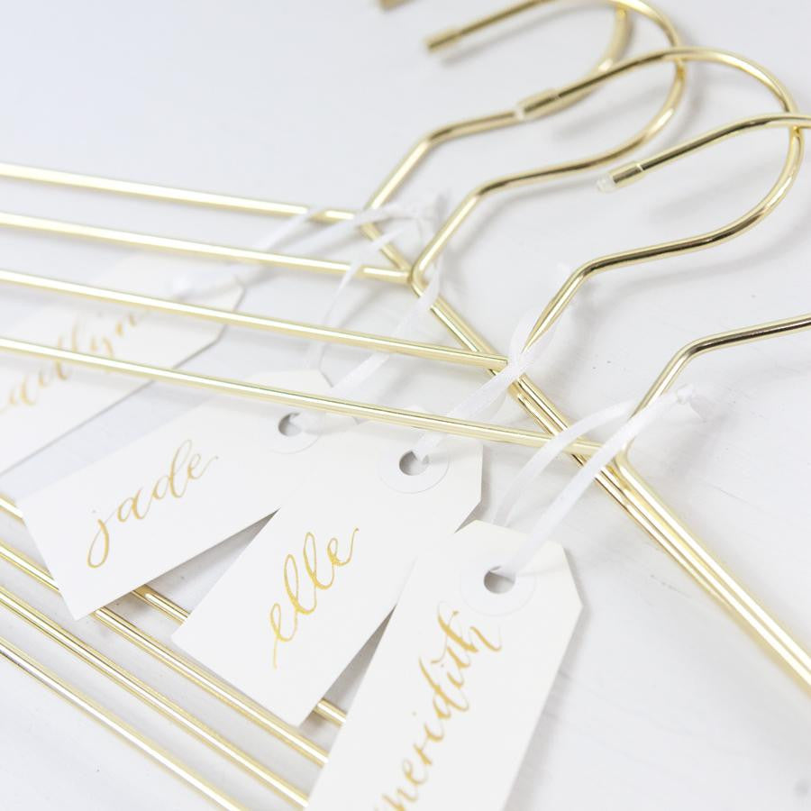 Gold Bridesmaid Hangers with Personalized Calligraphy Tags