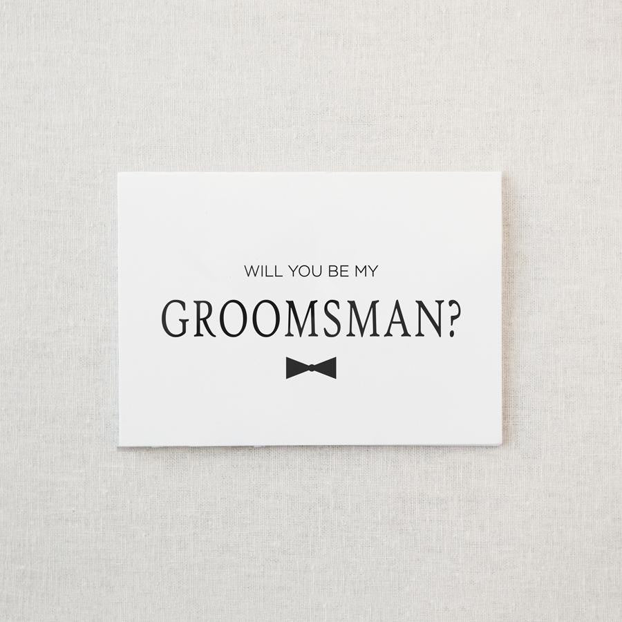 """Be My Groomsman"" Matte Black Foil Greeting Card & Envelope"