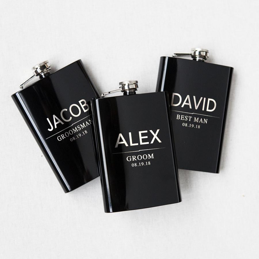 Personalized Grooms Party Black Flask