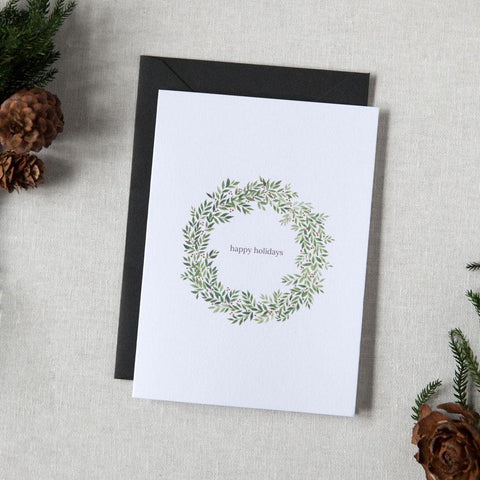 Happy Holidays Wreath Greeting Card