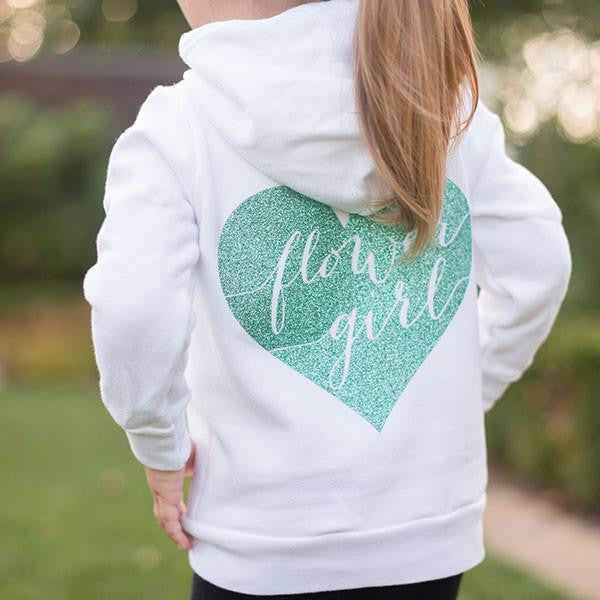 glitter flower girl hoodie, flower girl gifts, jr bridesmaid gifts