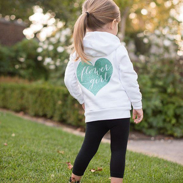 zip up flower girl hoodie, best flower girl gifts, personalized