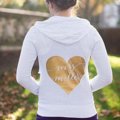 personalized bride hoodie, custom mrs sweatshirt, bridal shower gifts, honeymoon apparel, bridal hoodie