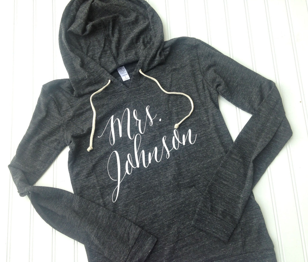 personalized bride hoodie, custom mrs sweatshirt, bridal shower