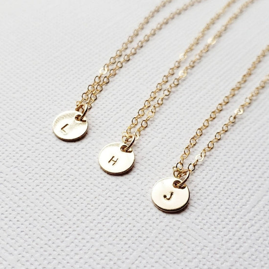 Tiny Gold Initial Disc Necklace