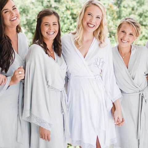 jersey lace bridal robes, bridesmaid gifts, wedding robes