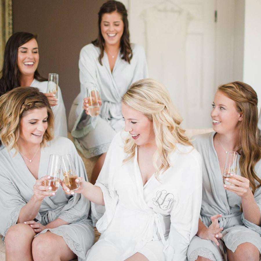 soft jersey bridesmaid robes for wedding, getting ready photos