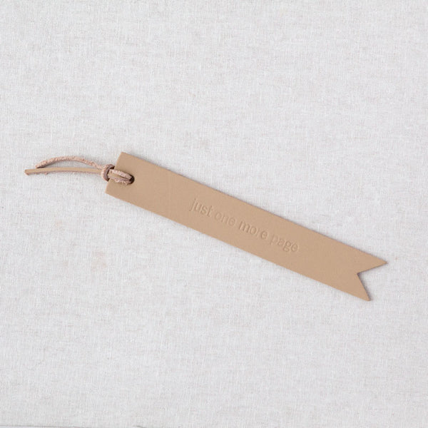 """Just One More Page"" Leather Bookmark"