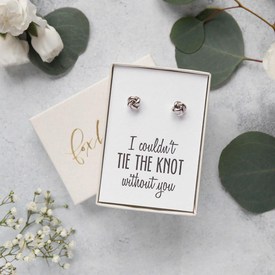 bridesmaid proposal ideas, tie the knot earrings, bridesmaid gifts, bridesmaid asking gifts, bridesmaid gift ideas, best bridesmaid jewelry, be my bridesmaid, will you be my maid of honor, bridesmaid thank you gifts