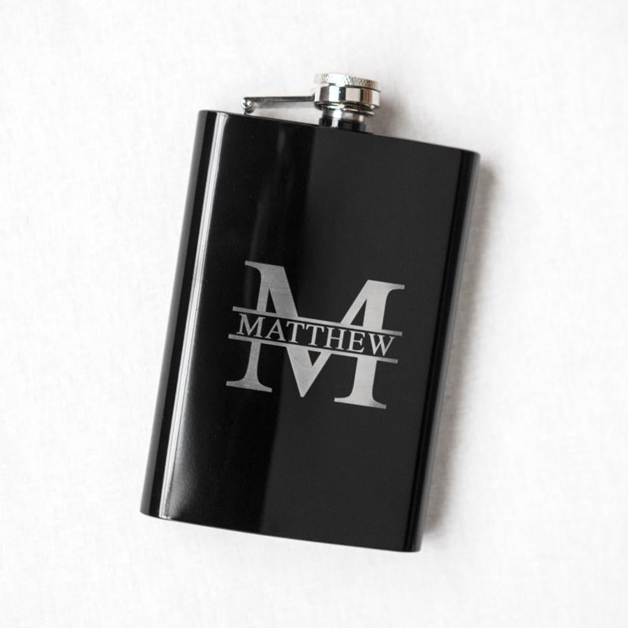 Personalized Monogrammed Black Flask