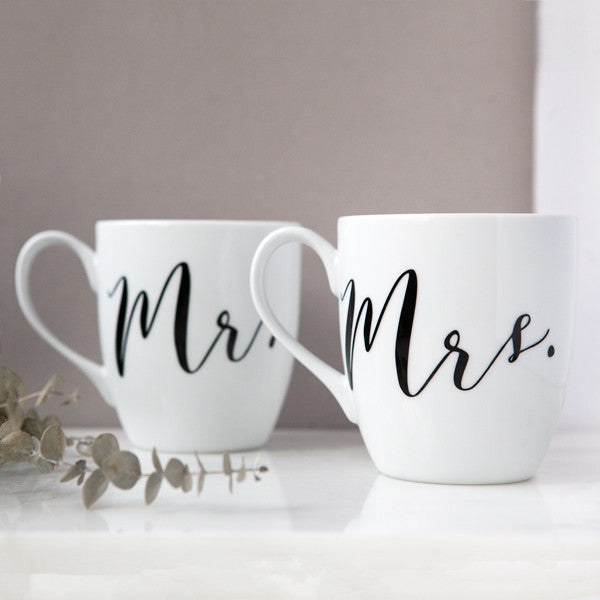 mr and mrs mugs, his and hers gifts, engagement gifts, wedding gifts, bridal shower gifts, couples gifts, wedding client gifts, corporate gifting