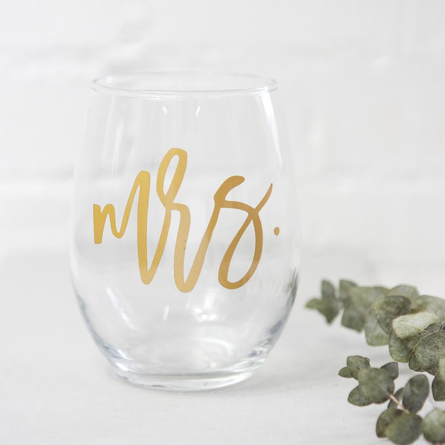 mrs stemless wine glass, bride glass, bridal shower gifts, engagement gifts, best bridal gifts, gift ideas for brides, personalized bride to be gift boxes