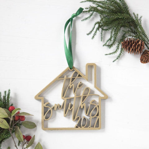 personalized ornaments, newlyweds gifts, couples gifts, engraved new home ornaments, first home ornaments, custom laser cut ornaments, unique ornament gifts, realtor gifts, hostess gifts, family name ornaments
