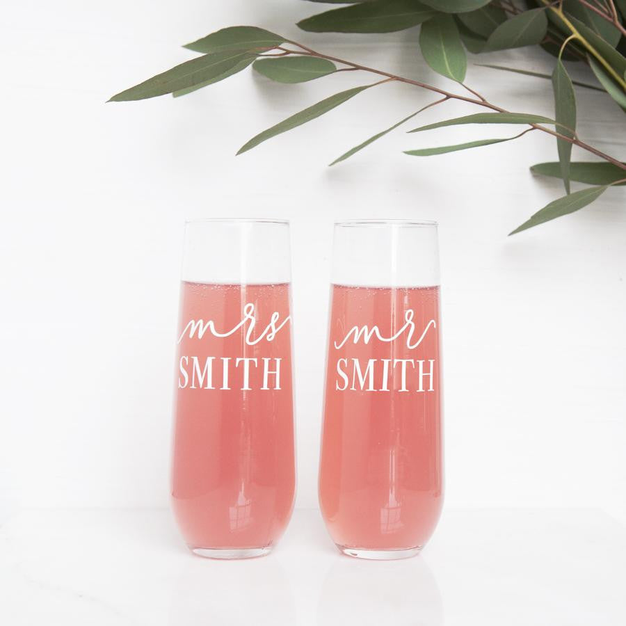 Personalized Mr. and Mrs. Stemless Champagne Flutes - Foxblossom Co.