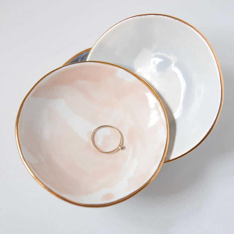ceramic ring dish, gold rim, artisan gifts, luxury curated gift boxes