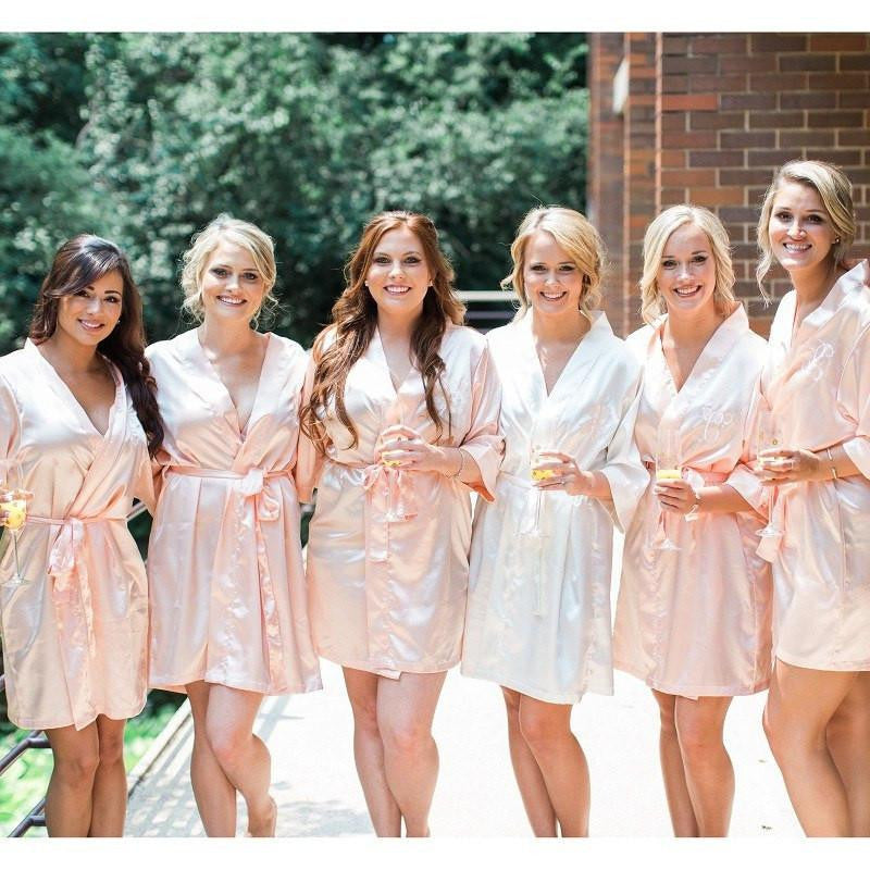 monogrammed satin bridesmaid robes, wedding robes, bridal robes, bridesmaid gifts