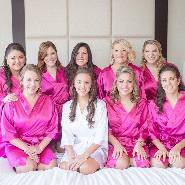 satin bridal party robes, bridesmaid getting ready robes, personalized bridesmaid gifts, luxury bridal gifts