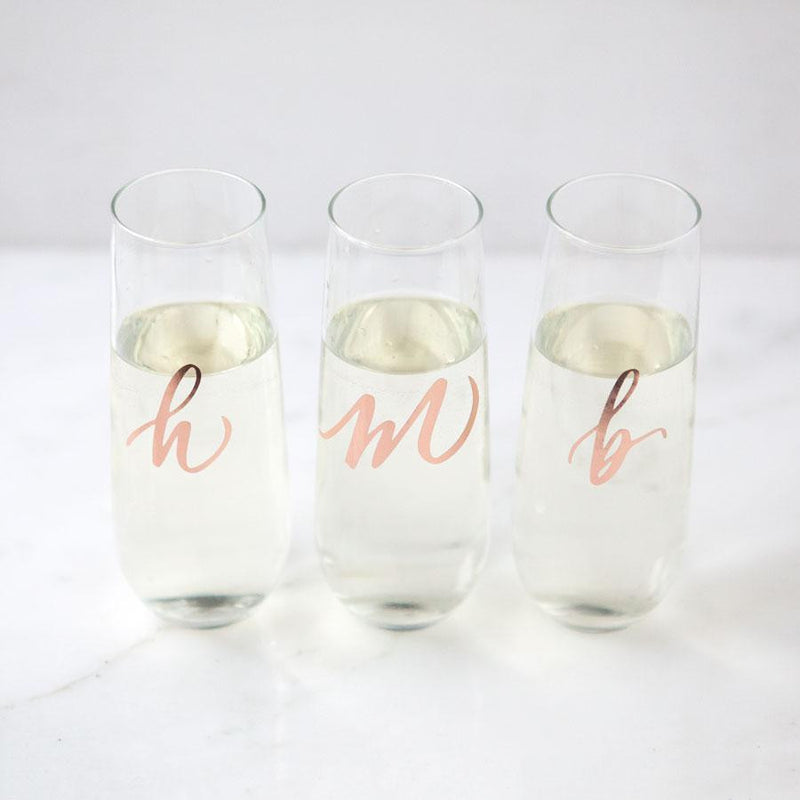 personalized stemless champagne flutes, wedding glasses, bridesmaid gifts