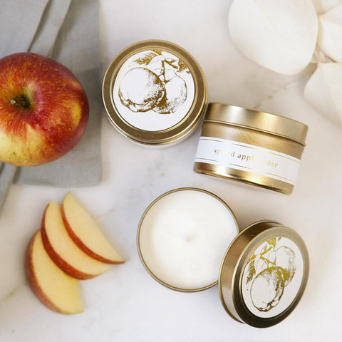 apple cider candle, spiced apple cider candles, hand poured natural soy candles, non-toxic candles, small batch handmade