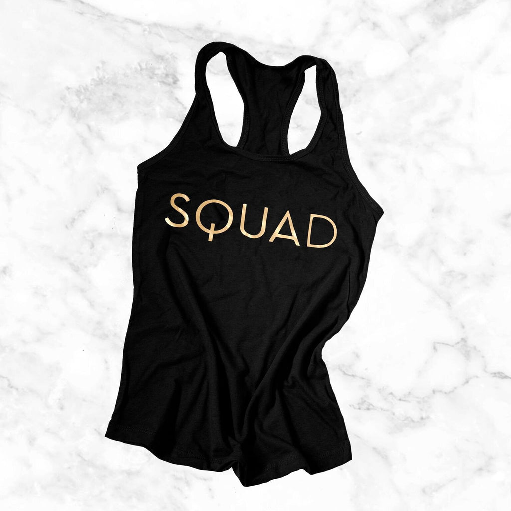 gold Squad tank for bachelorette parties, bridesmaid tank tops, bridal party apparel