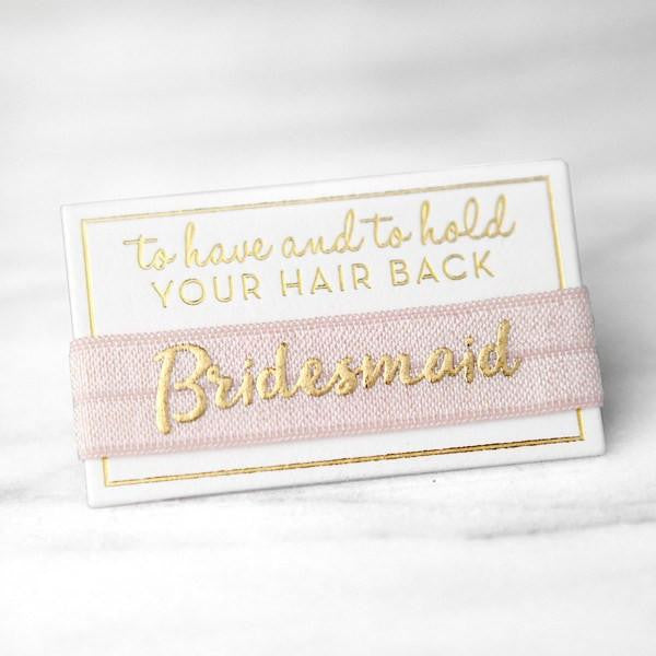 bridesmaid hair ties, bridesmaid gifts, bachelorette favors