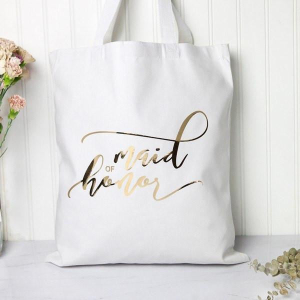 gold maid of honor tote bag, bridesmaid gifts, bridal party bags