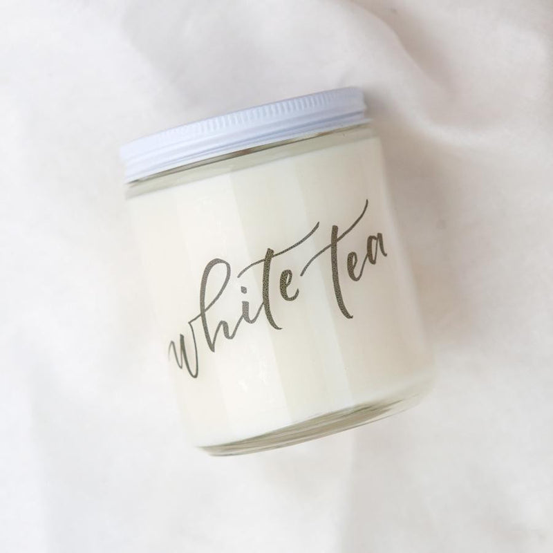 white tea candles, natural soy candles, hand poured candles, small batch handmade