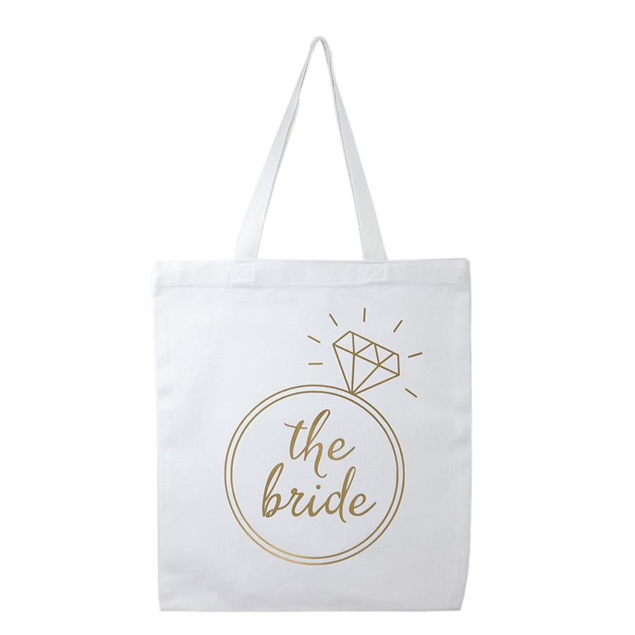 white and gold bride tote bag, bride to be gifts
