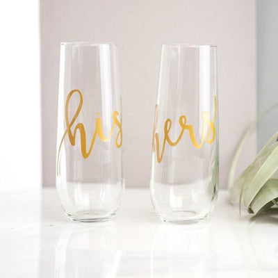 his and hers stemless gold champagne flutes, couples gifts, wedding gifts, custom gift boxes, build a gift box