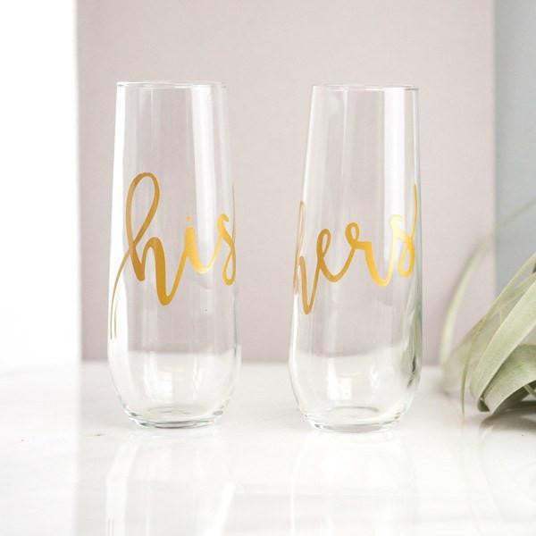 his and hers stemless gold champagne flutes, couples gifts, wedding gifts
