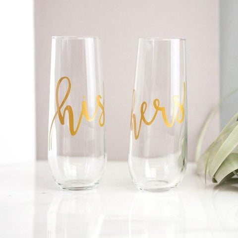 his and hers stemless gold champagne flutes, couples gifts, wedding gifts, engagement gifts, bridal shower gifts, unique couples gift ideas
