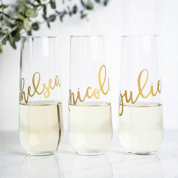 personalized champagne flutes, bridesmaid flutes, bridesmaid gifts, wedding favors, bachelorette party