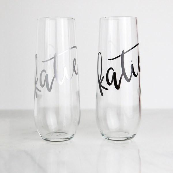 Wine Glass - Personalized Stemless Flute