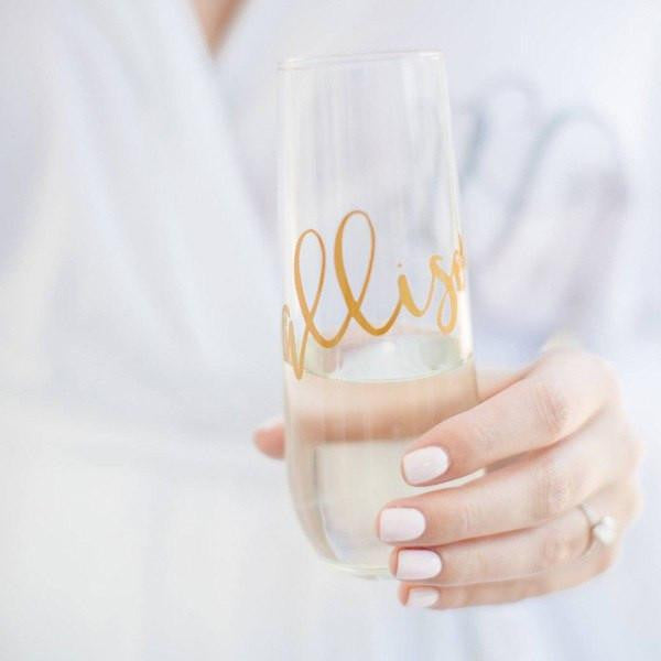 Personalized Champagne Flute, stemless, personalized wedding gifts