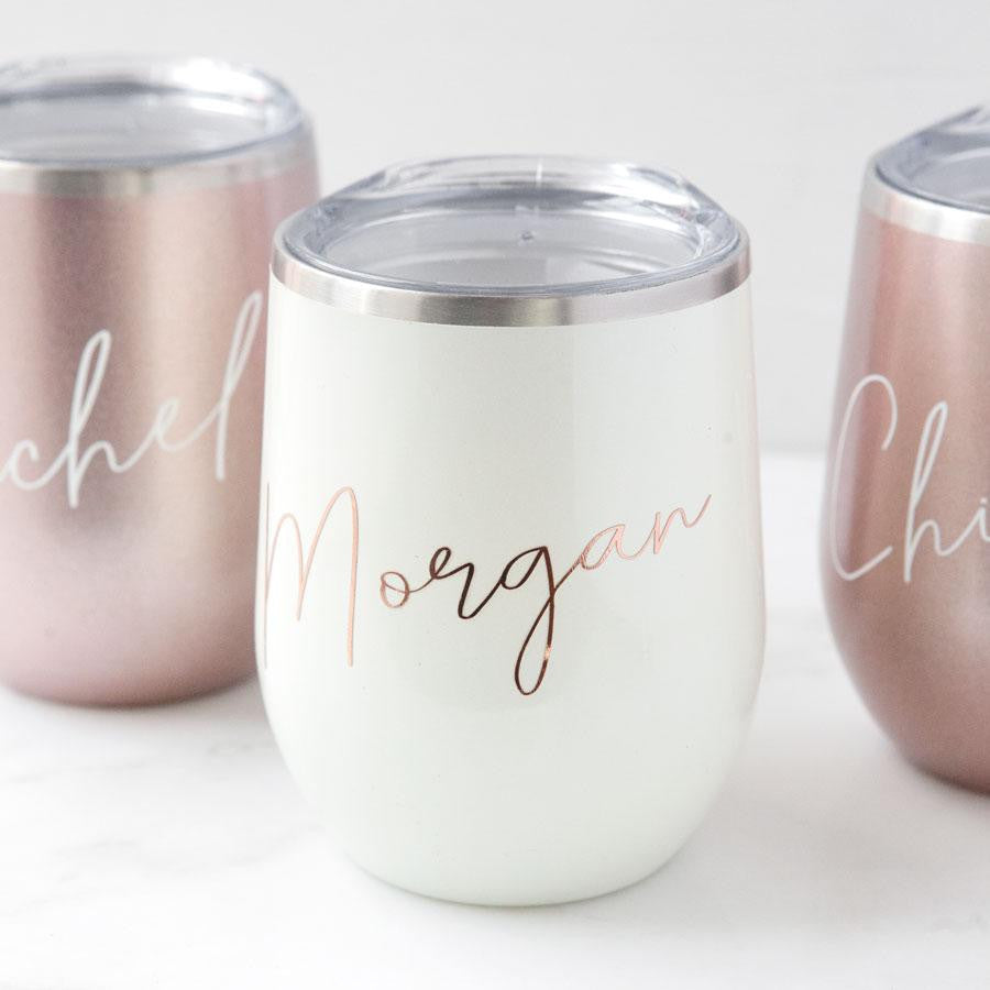 Personalized Stemless Wine Glass, bridesmaid gifts, bridesmaid glasses, unique wine lover gifts, wine gift ideas, personalized gifts for her, best gift ideas for women, custom wine glasses