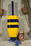Maine Lobster Buoy in Gloss Yellow with Blue Stripes
