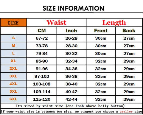 Size Chart Latex Clip and Zip Waist Trainer